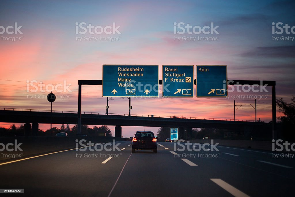 German highway, autobahn at dusk stock photo