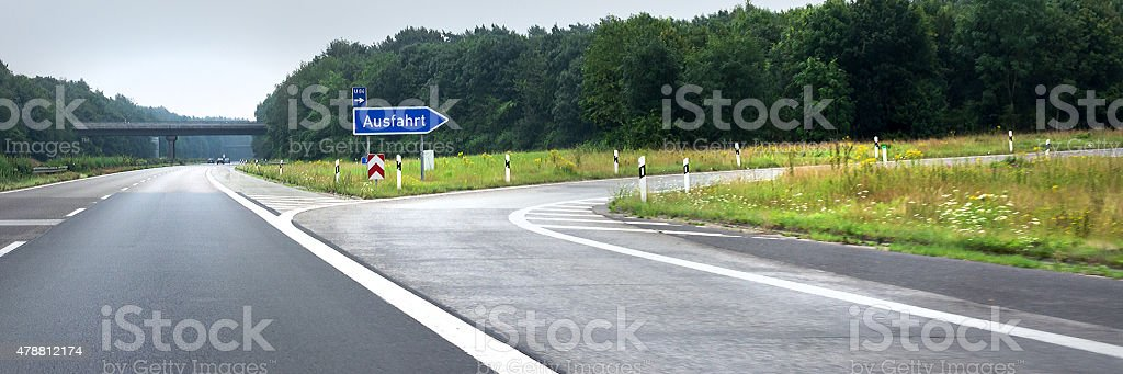 German highway exit stock photo