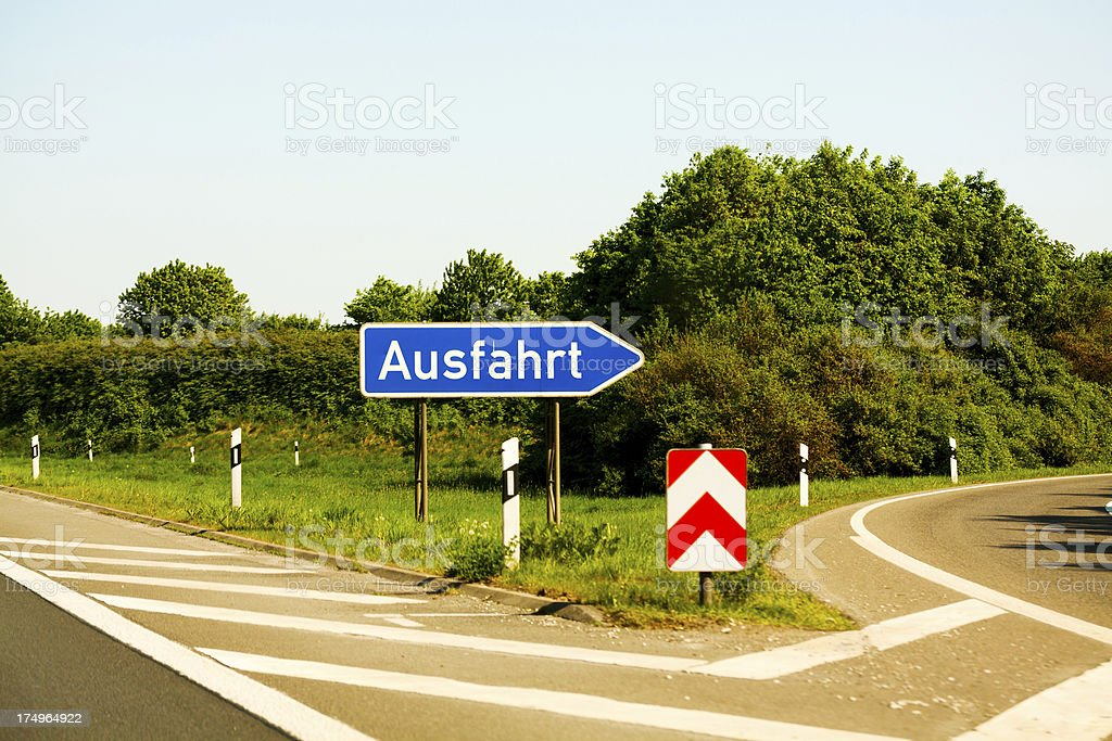 German highway exit sign royalty-free stock photo