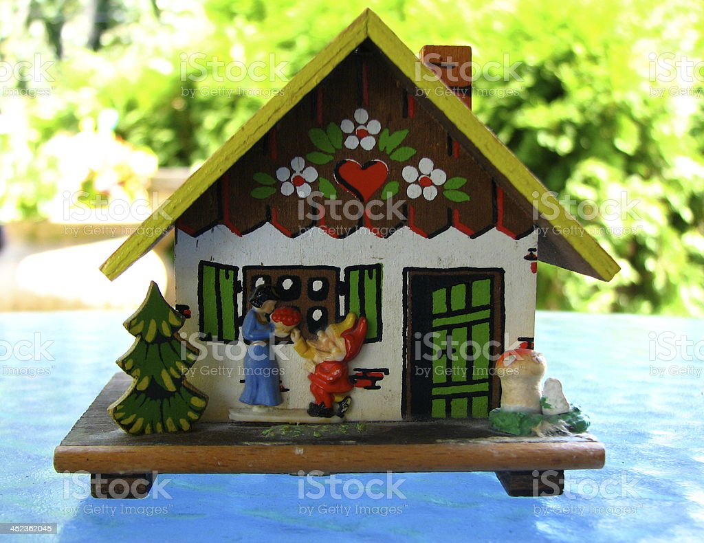 German house with Snow White and a Dwarf stock photo