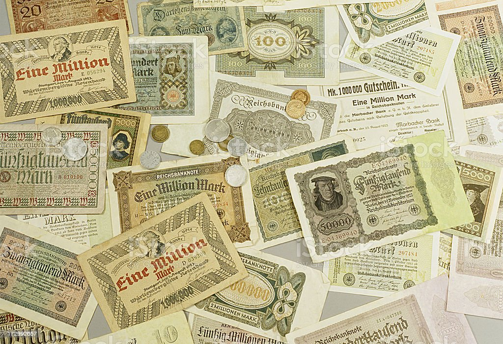 German Inflation money from 1920 stock photo