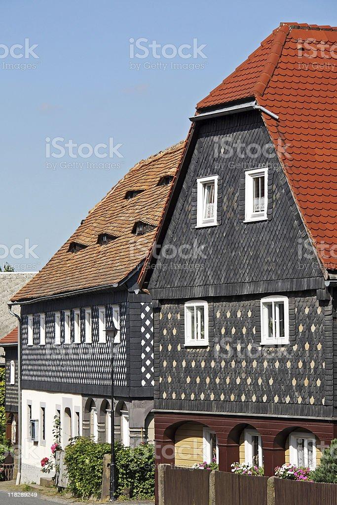 German Kind of Block House, Umgebindehaus stock photo
