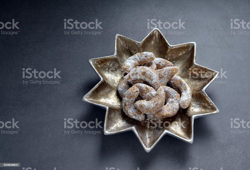 German Kipferl christmas cookies stock photo
