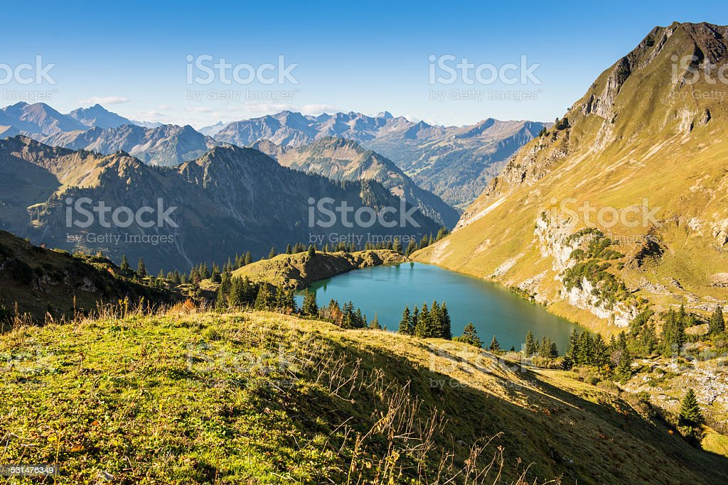German landscape with mountains and lake stock photo