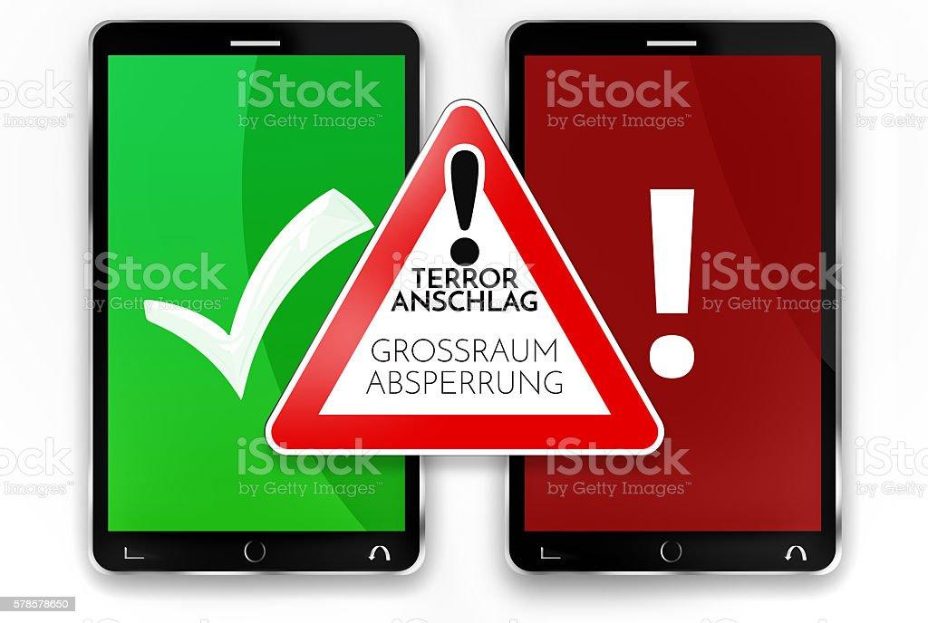 german language warning sign smartphones terrorist attack warning 3d render stock photo