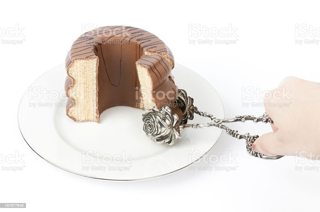 German layer cake - Baumkuchen isolated on white stock photo