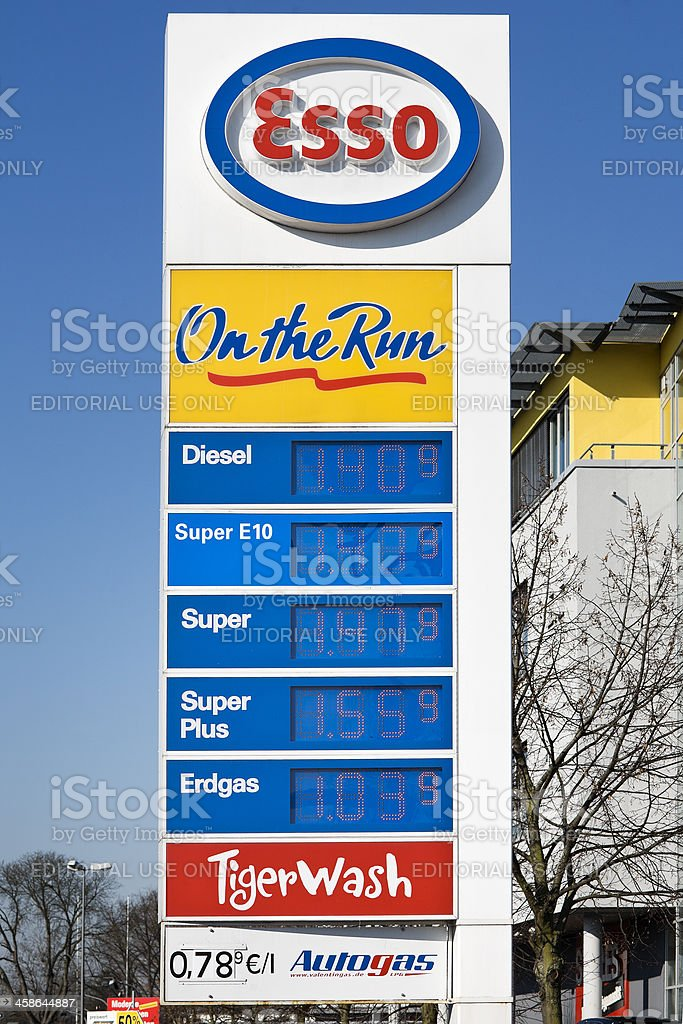 German LED Gas Station Price Board stock photo