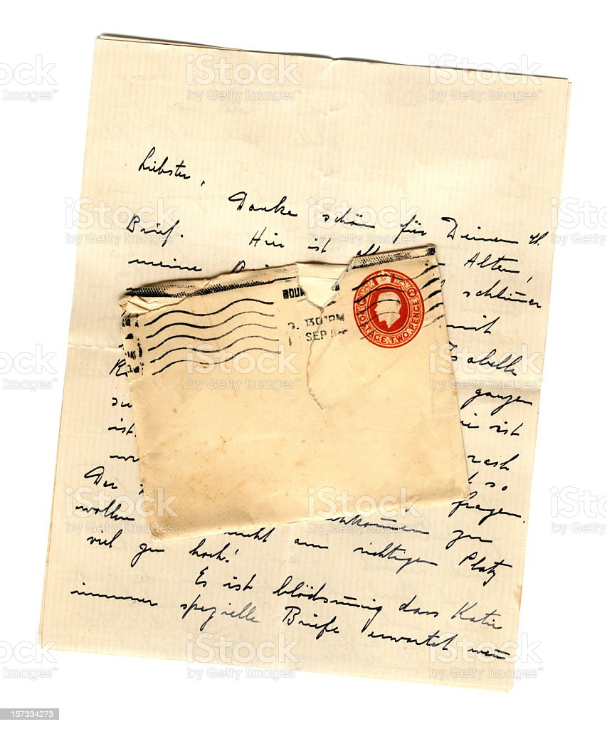 German letter and British envelope stock photo