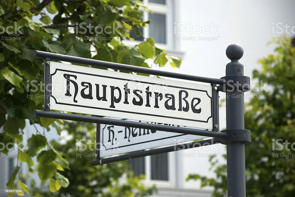 German main street sign stock photo