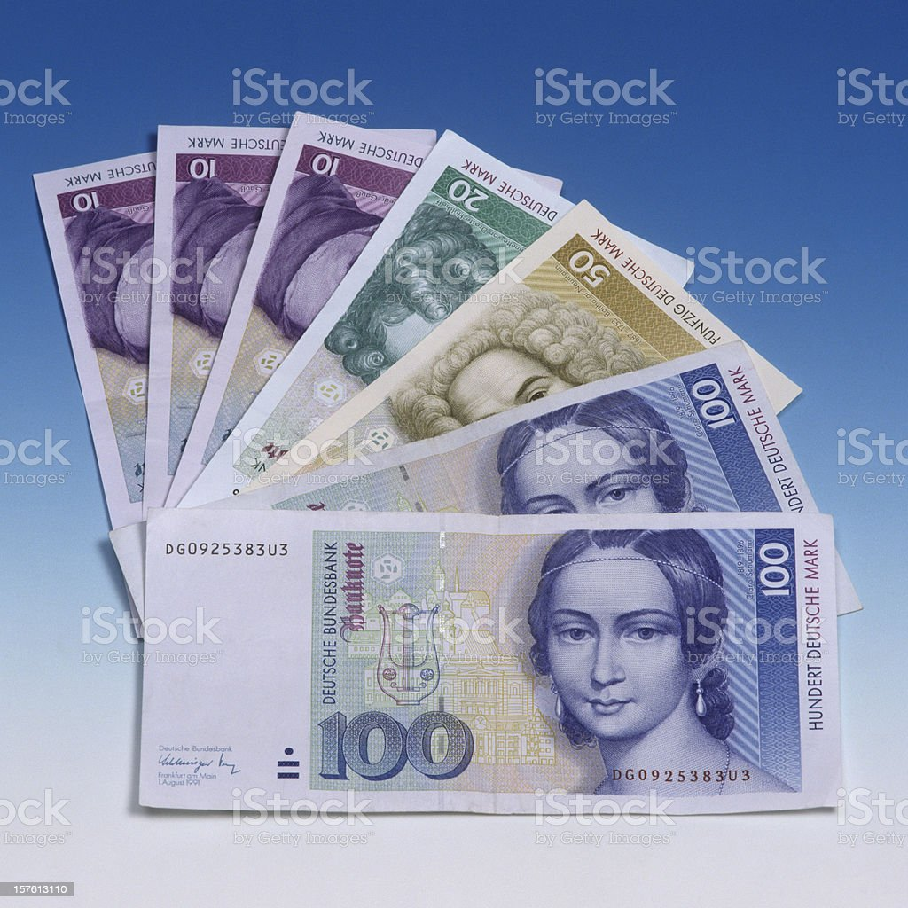 OLD german mark bills in a row stock photo