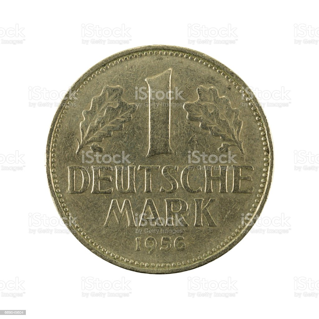 1 german mark coin (1956) obverse isolated on white background stock photo