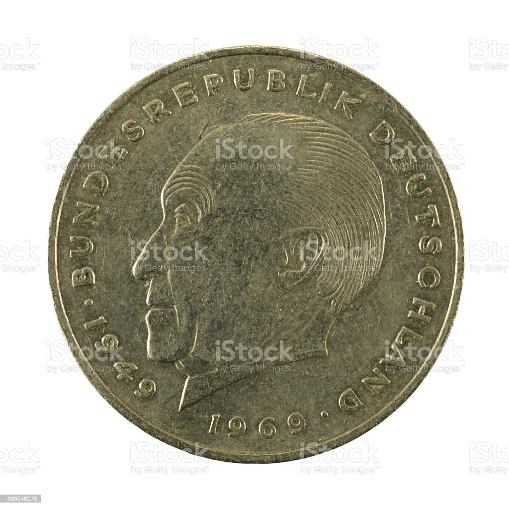 2 german mark coin (1969) obverse isolated on white background stock photo