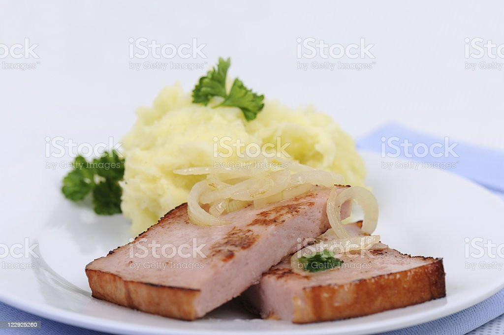 German Meat Loaf with Mashed  Potatoes and Onions stock photo