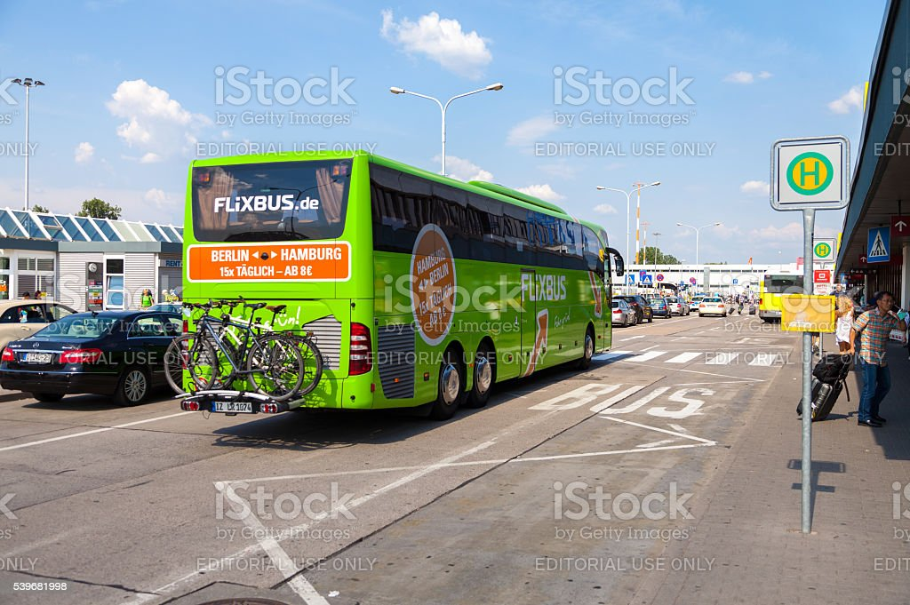 german mercedes benz bus from flixbus arrives the airport stock photo