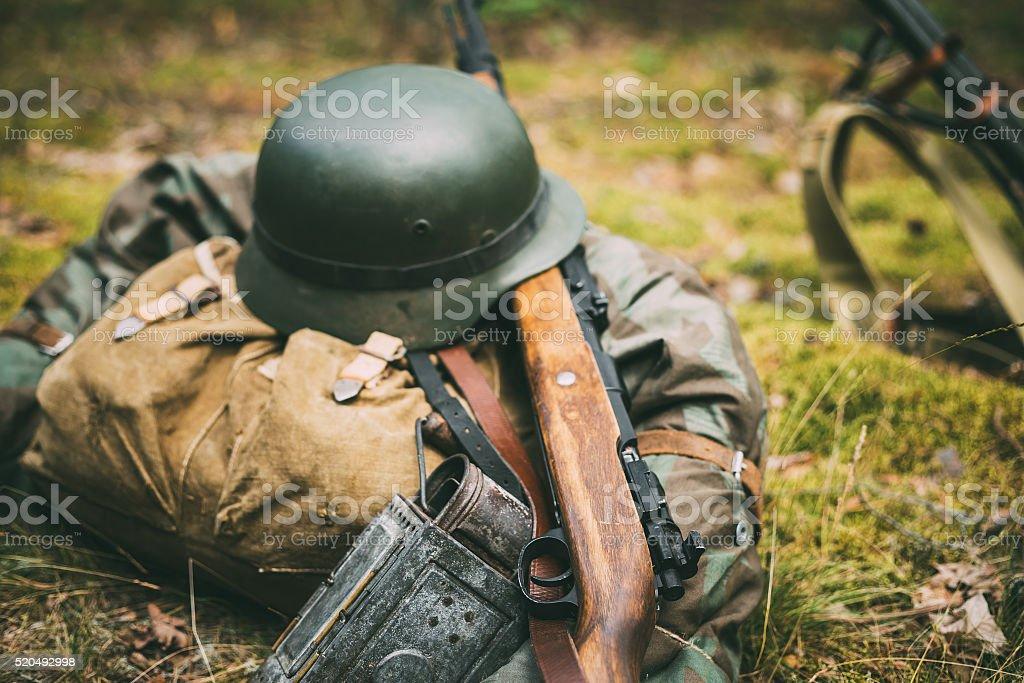 German military ammunition of World War II on ground stock photo