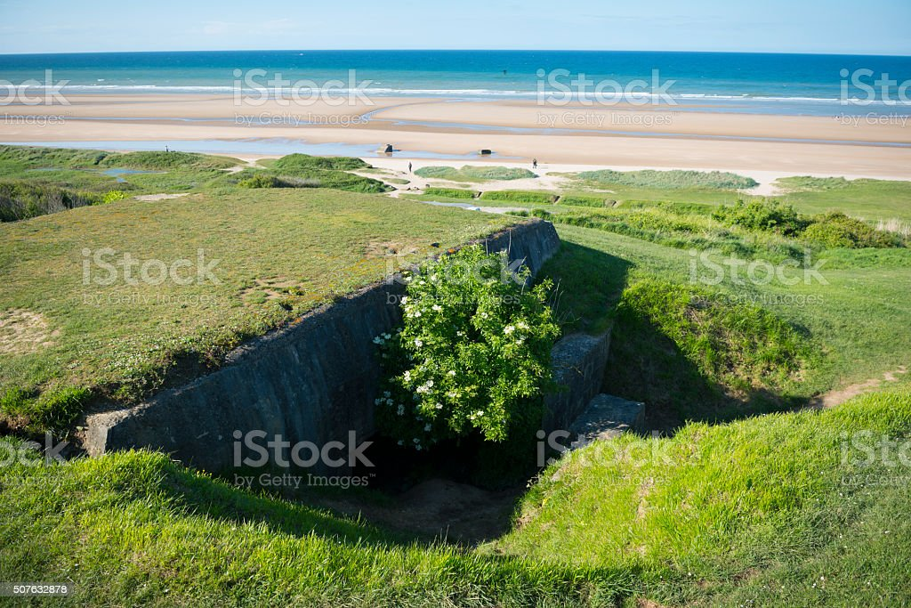 German military bunker at Omaha Beach, Normandy, France stock photo