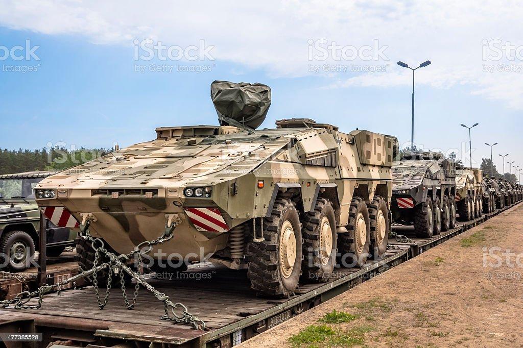 German military equipment on a railway siding stock photo
