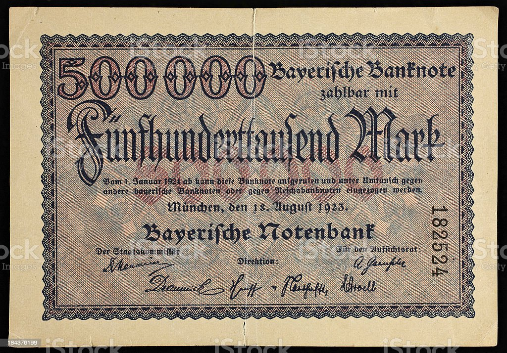 German money from 1923 500 000 marks stock photo