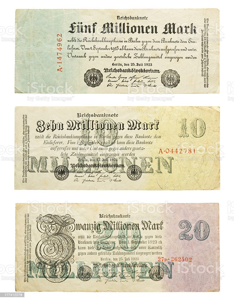 German money from hyperinflation stock photo