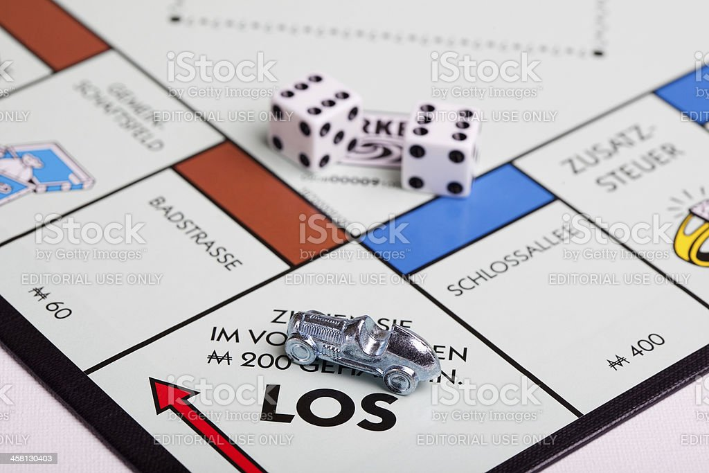 German Monopoly board, car at start stock photo
