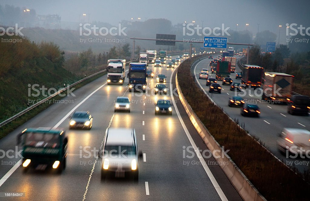 German motorway early in the morning royalty-free stock photo