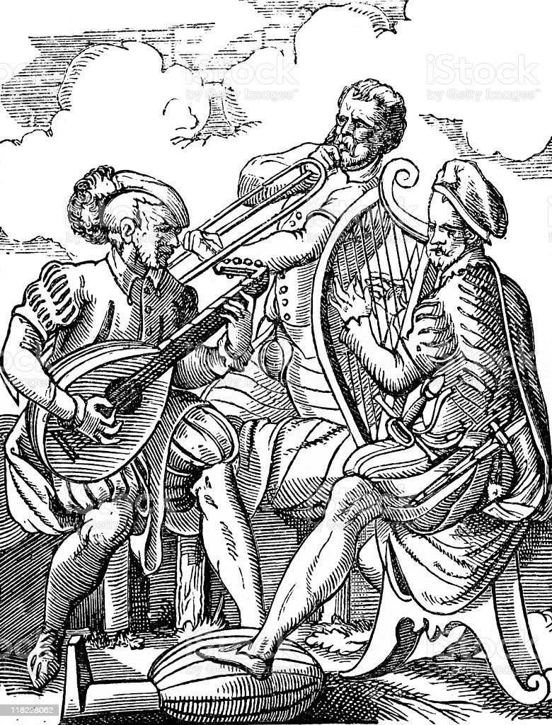 German Musicians Play the Lute, Trombone and Harp royalty-free stock photo