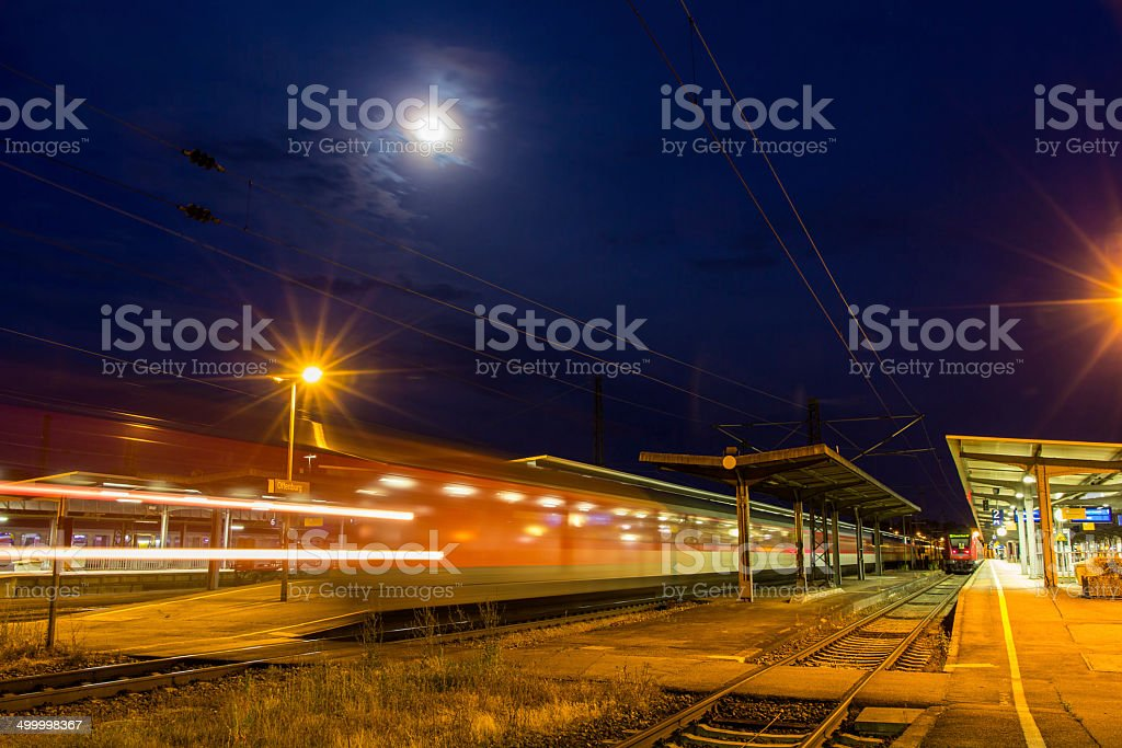 German night train departing from Offenburg station stock photo