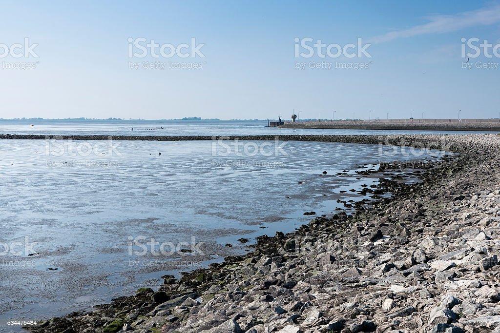 German North Sea coast - dike and tideland stock photo