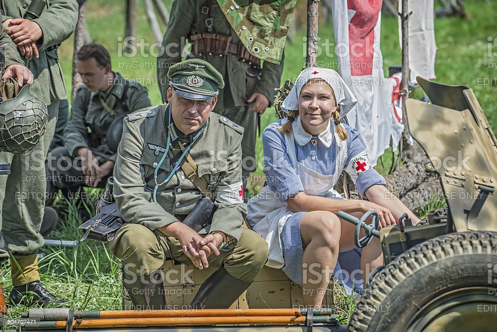 German officer and a nurse stock photo