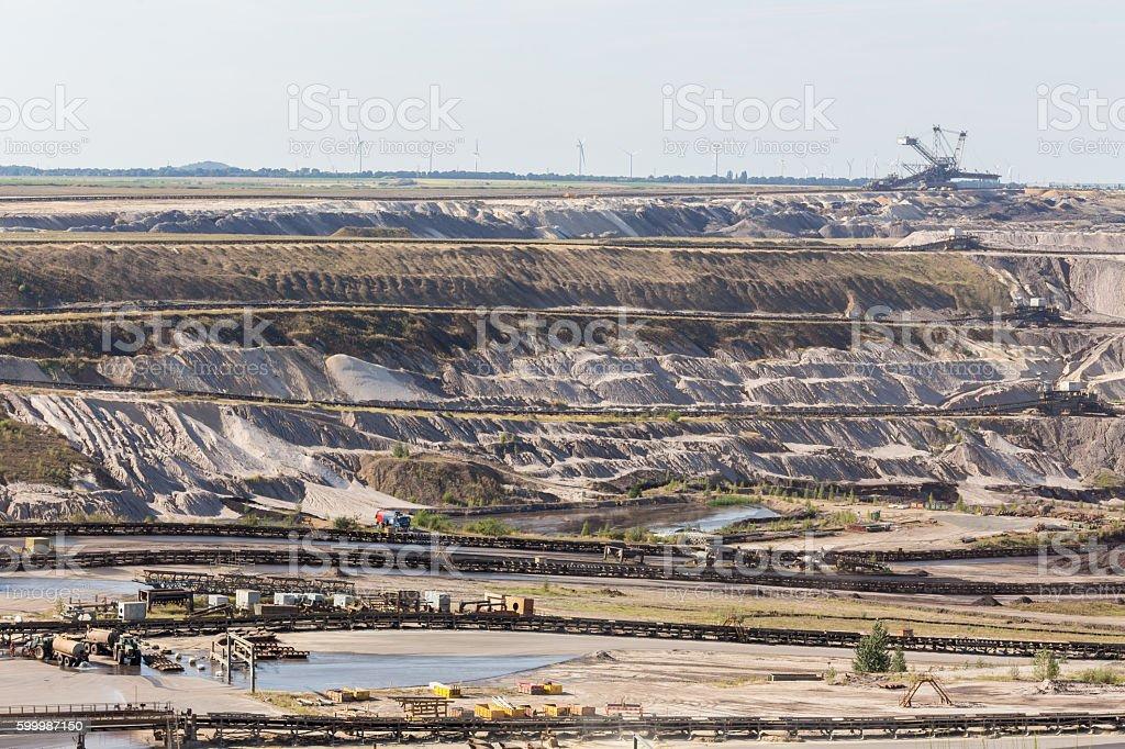 german open-cast mining inden stock photo
