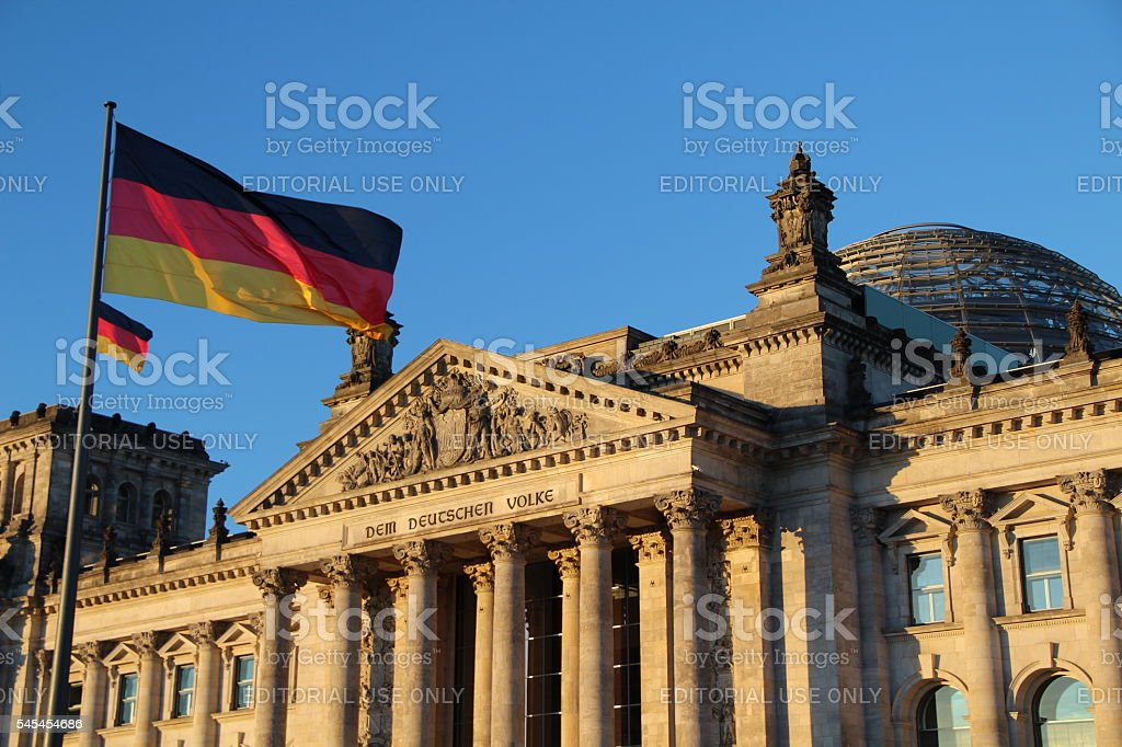 German Parliament and flag royalty-free stock photo