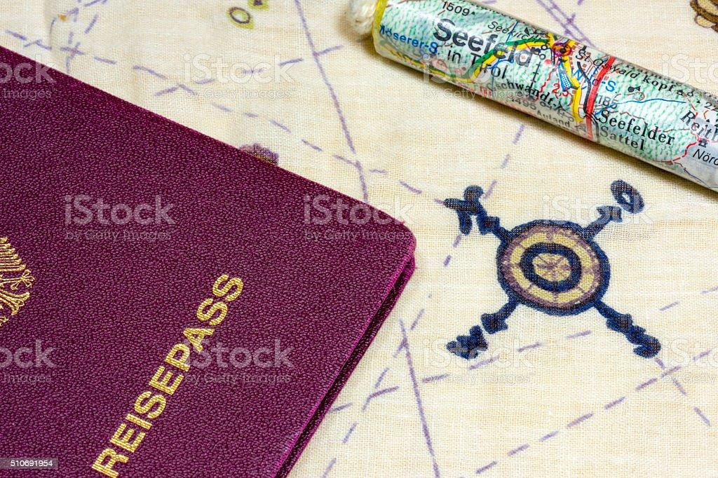 German passport and maps of Seefeld stock photo