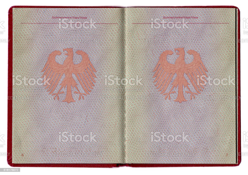 German passport blank pages close-up stock photo