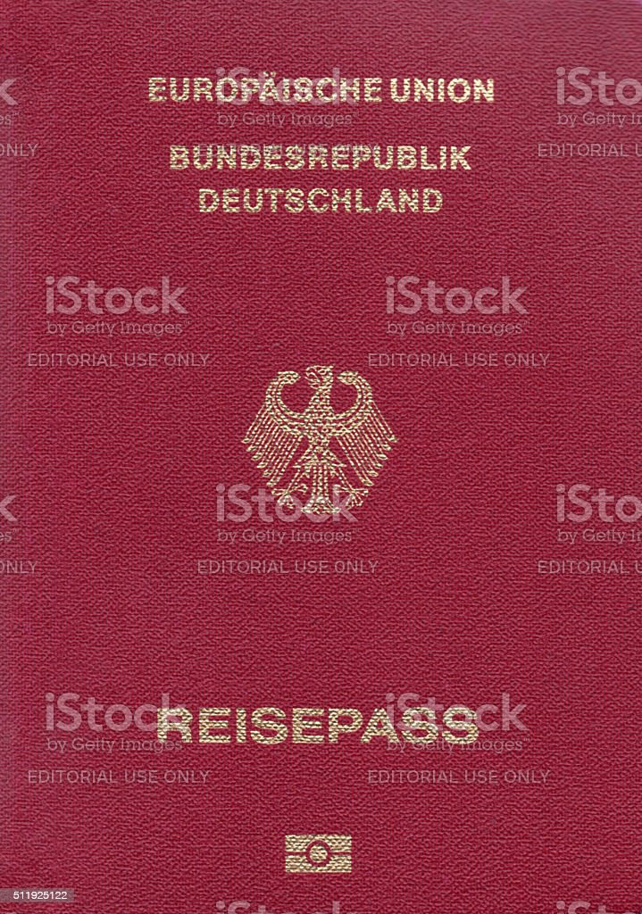 German passport close-up stock photo