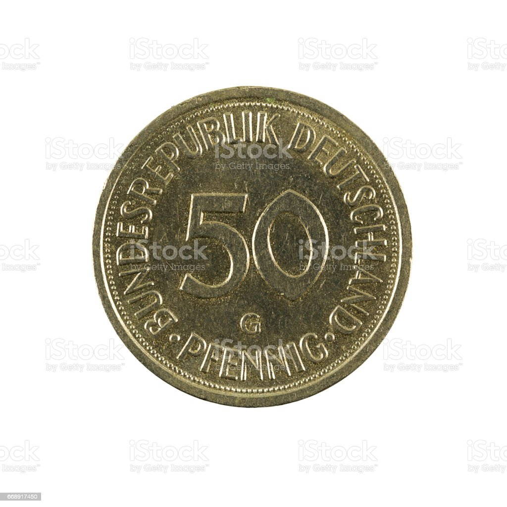 50 german pfennig coin (1984) obverse isolated on white background stock photo
