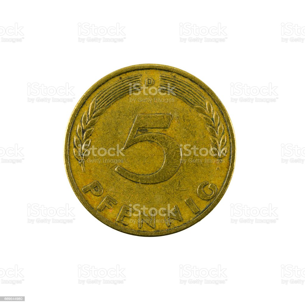 5 german pfennig coin (1950) obverse isolated on white background stock photo