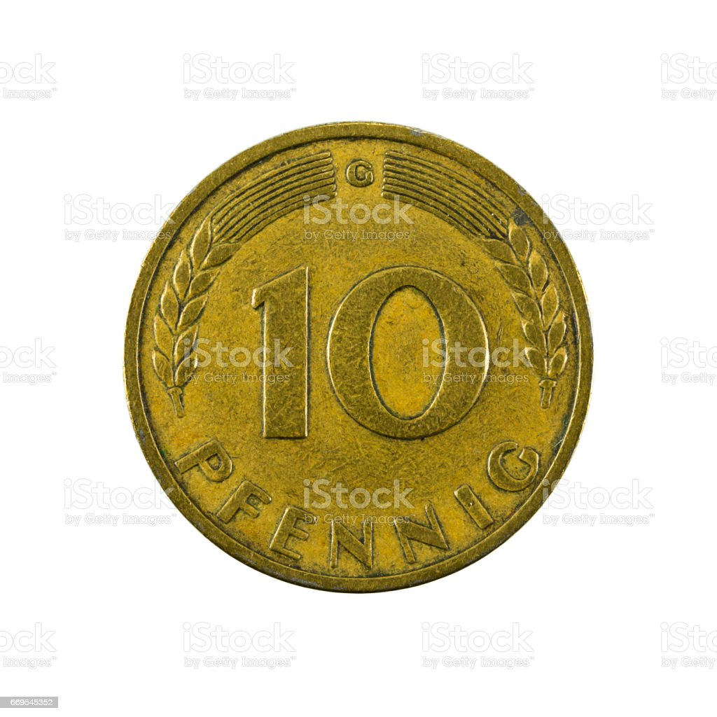 10 german pfennig coin (1949) obverse isolated on white background stock photo