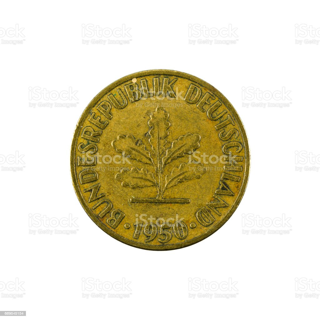 5 german pfennig coin (1950) reverse isolated on white background stock photo