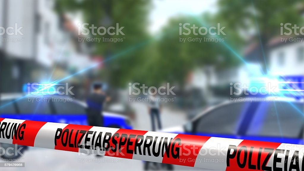 German Police line - roadblock - crime scene stock photo