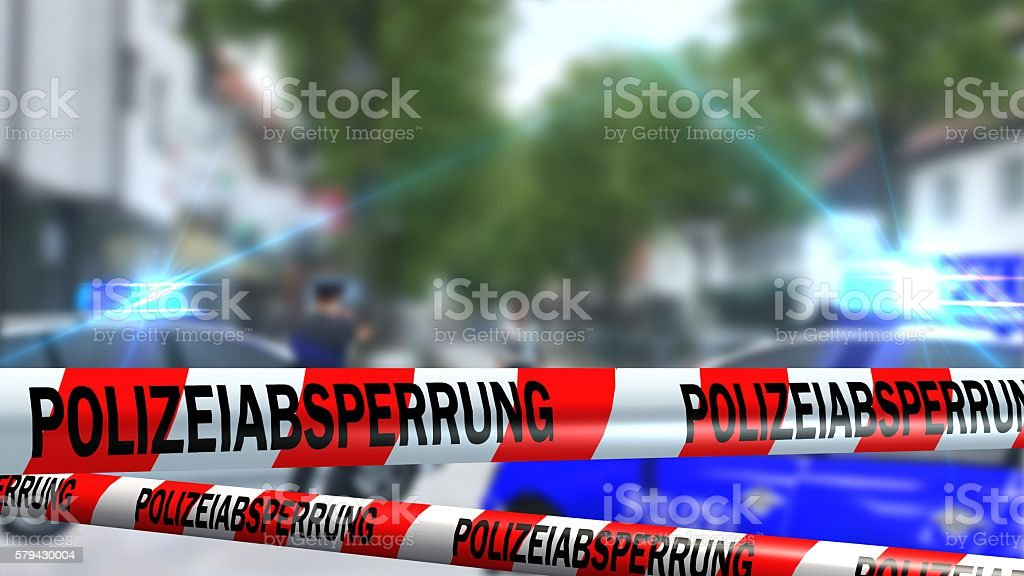 German Police line - roadblock - crime scene stock photo