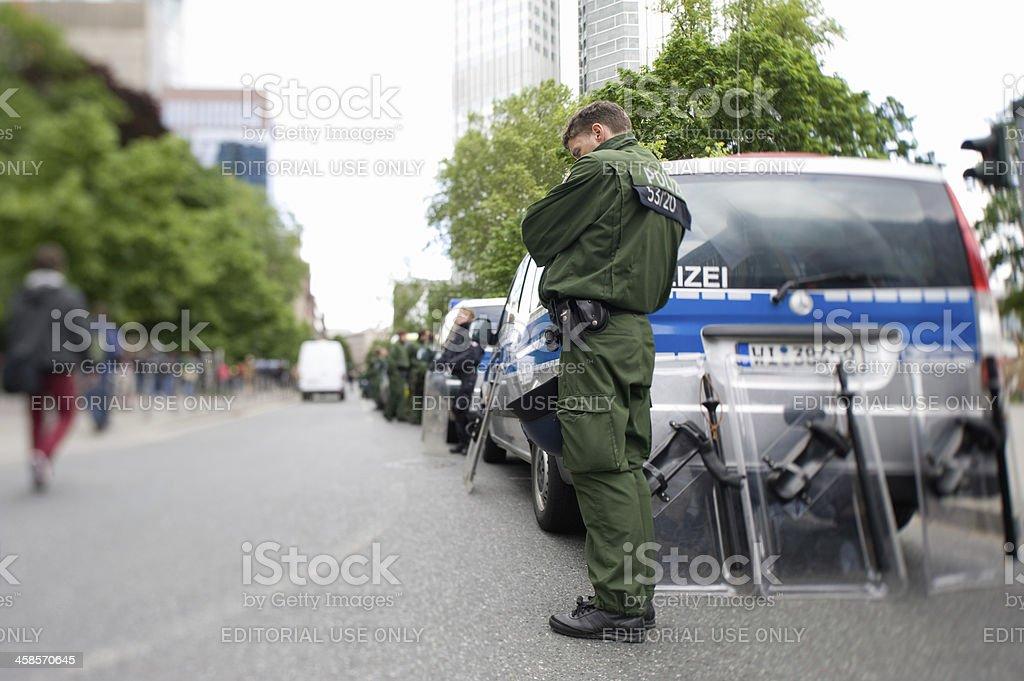 German Police Officer, Frankfurt, Blockupy stock photo