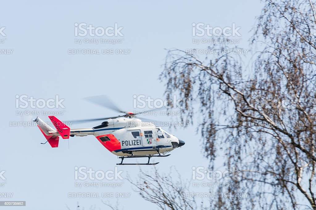 German police, rescue helicopter landing stock photo