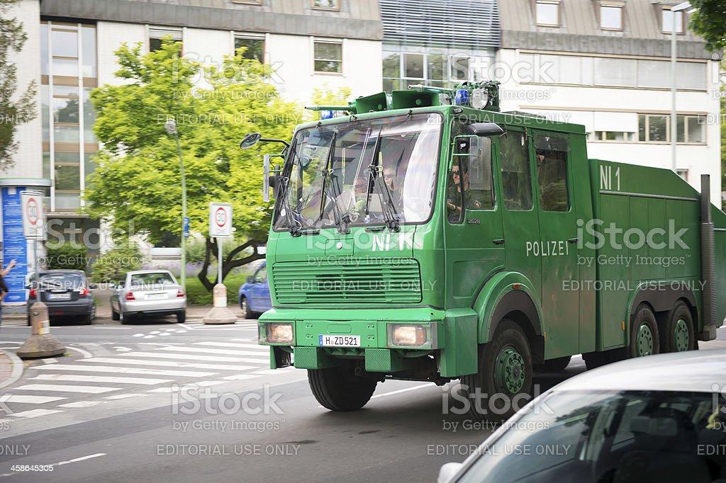 German police water gun in downtown Frankfurt during Blockupy prostests stock photo