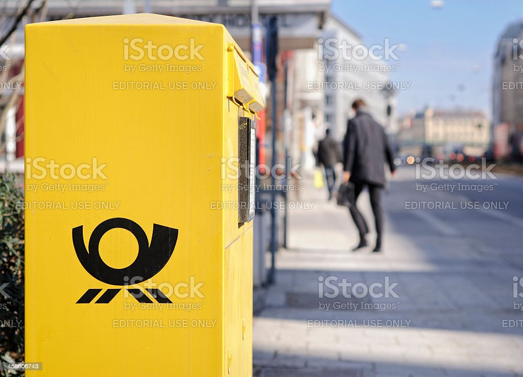 German Post Box on the Street stock photo