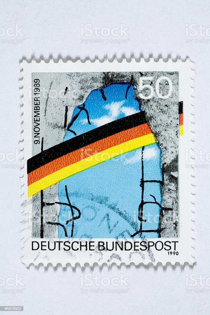 German post stamp Berlin wall 1990 royalty-free stock photo