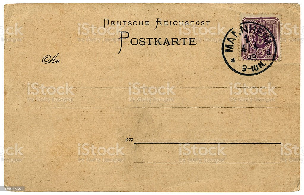 German postcard, posted in 1888 stock photo