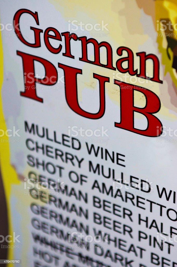 German Pub drinks menu stock photo