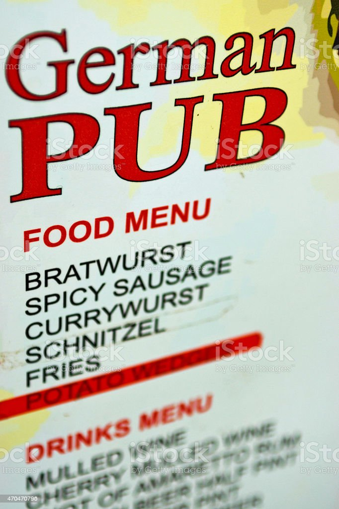 German Pub food and drinks menu stock photo
