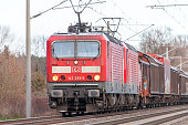 german rail Class 143  train with goods wagons