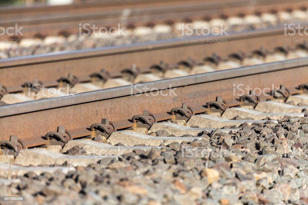 german rail road line lies on stones stock photo
